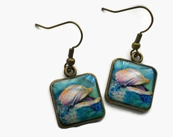 Dolphin Picture Earrings 3D Jewelry Dimensional Pink Blue