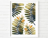 Wide Leafed Fern Scatter Botanical Print, Nature Wall Art, Green Fern Plate, Abstract Art, Tropical Design, Digital Download Printable