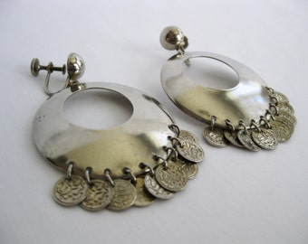 vintage. EARRINGS. screw back. HOOPS. silver tone. GYPSY. ethnic. 1950s.