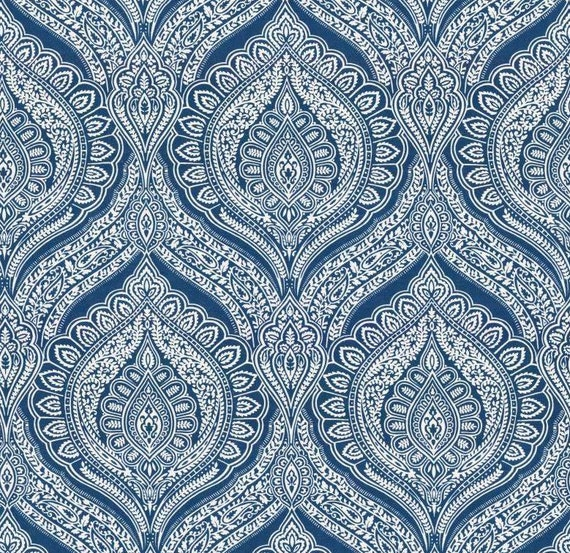 blue damask upholstery fabric custom blue white paisley. Black Bedroom Furniture Sets. Home Design Ideas