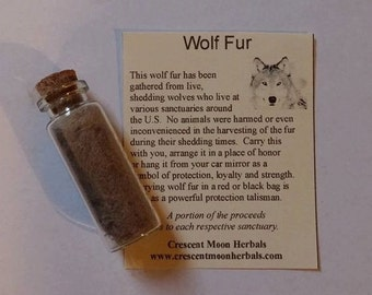 LARGE WOLF FUR Vial with cork top for Protection, Native American, Spells, Wicca