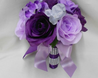Wedding Silk Flower Bridal Bouquet Your Colors Purple Lavender Silver Bouquet Roses Toss  BouquetFREE SHIPPING