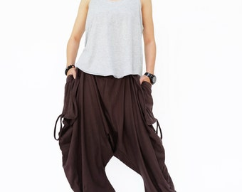 NO.186 Brown Cotton Jersey Mega Pocket Pants, Drop Crotch Trousers, Women's Pants