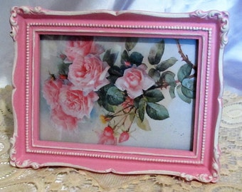 "Vintage PHOTO FRAME~Hand Painted~Pink & White~Ornate Corners~Poly Resin~Holds 5""x7""~ Glass~Hooks~Shabby Chic~Cottage~Romantic Home Decor"