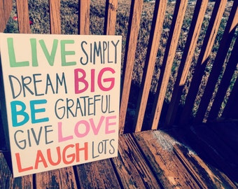 Live Simply Quote Canvas