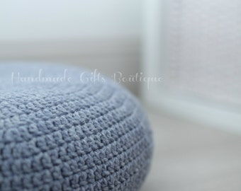 Crochet cover for ALSEDA stool. Silver Fox - Grey. Home furnishing. Floor pillow. Cozy home decor. Cover. Floor cushion.