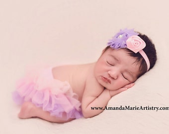 Tutu Bloomers - Ombre Pink & purple flower crystal Crown headband - diaper cover ruffle newborn bloomers cake smash set newborn