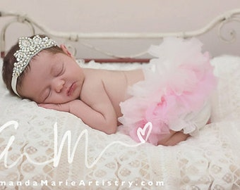 Newborn crown - Ombre Ivory Pink & AB crystal princess Crown headband - bloomers diaper cover ruffle newborn bloomers cake smash set newborn