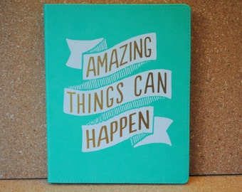 Amazing Things Can Happen Minty Teal Large Leather-like Composition Notebook Journal