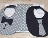 Gray Background and White Dots Three Piece Bib Set One Tie Bib One Bow Tie Bib and one Burp Cloth