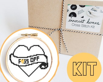 P*ss Off Heart Modern Cross Stitch Kit - easy chart design - rude offensive funny DIY gift - mature swear words tattoo embroidery kit