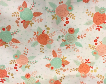 FABRIC-Peach, Coral Mint Floral Fabric by the Yard-Quilt Fabric-Apparel Fabric-Home Decor Fabric-Fat Quarter-Craft Fabric-Fat Quarters