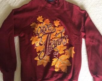 Vintage Give Thanks Fall Leaves Super Soft Sweatshirt