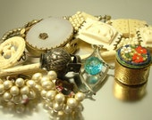 Reserved - Job lot antique vintage Victorian Deco jewelry jewellery spares repairs parts recycle upcycle, Micro mosaic ,rhinestone, Agate