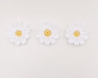 crochet daisy flower applique - flower motif - white flower
