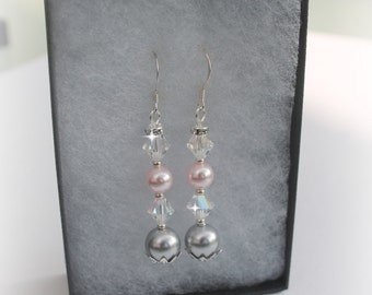 Bridal Pearl Crystal Earrings Mother Of The Bride Mother Of The Groom Bridesmaids Maid of Honour Pink Silver