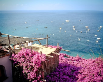 Positano Art - Amalfi Coast Photography - Italy Art, Italian Photography - Purple Bougainvillea - Positano Italy - Vintage, Retro, Rustic
