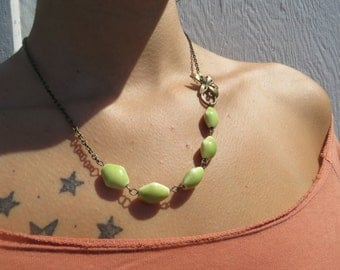 Spring Green Asymmetrical Flower Necklace