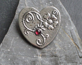 Strawberry Flower Heart Brooch