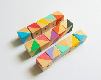 Neon Geometric Mix Wood Beads, Hand Painted Cube wood Beads, Summer Geometric Jewelry, Do it Yourself Geometric necklace