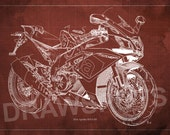 APRILIA RSV4 RF Blueprint, Art Print 8x12in and larger sizes, Motorcycle Art print,Original Drawing for men cave