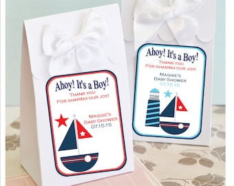 Personalized Nautical shower favor boxes - baby shower favors, baby shower favor box - set of 12