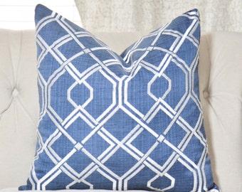 "SALE 25.00 18"" or 20"" - Blue Geometric Designer Pillow - Blue Modern - Dark Blue Ivory Lattice Pillow - Blue Cushion"