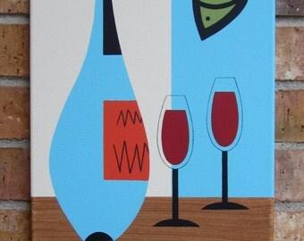 Mid Century Modern, 12 X 24 Acrylic Painting