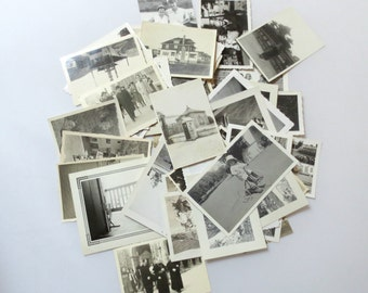 48 Vintage Small Photos/Snapshots, 1900s-1960s, People, Children, Boats, Europe, Military, Houses
