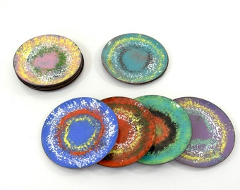 midcentury enamel coasters, set of 12, vintage coasters