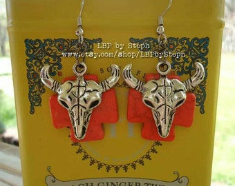 Bullskull Earrings with Orange Crosses