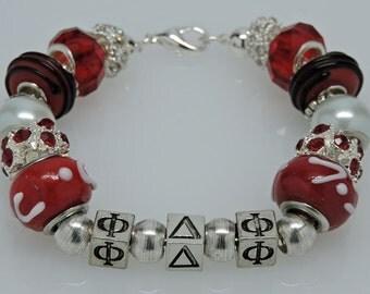 PHI DELTA PHI:  Legal Honor Society Red European Style Bracelet