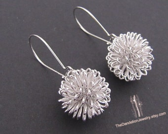 Dandelion Earrings, Silver Earrings, Jewelry, Drop Earrings, Dangle Earrings, Gift