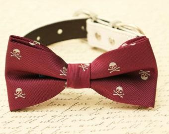 Burgundy dog bow tie, Skull bow tie, bow attached to dog collar, Halloween accessory, Skull, dog lovers,Marsala, Dog collar, Skull bow tie