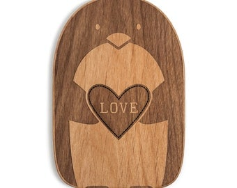 Penguin Shape Wood Love Card [Boyfriend or Girlfriend / Five Year, Fifth, 5th Anniversary / Custom Anniversary / Valentine Card]