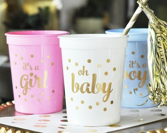 Baby Shower Cups, OH BABY, Baby Shower Decor, Set of 25 Cups