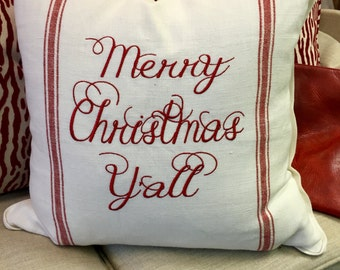 """Red & White Ticking Merry Christmas Y'all   20""""x20"""" pillow cover"""