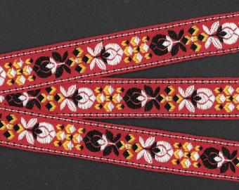 """FLORAL F-81-A Jacquard Ribbon Trim, Cotton, 1"""" Wide, Nordic Design, Red Background, Black/White Floral Motif, Yellow Accents, Lengths Vary"""