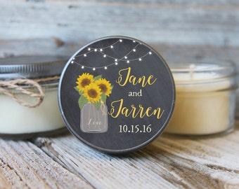12 - 4 oz Bridal Shower Favor//Sunflower Mason Jar Favor//Soy Candle Favor//Personalized Bridal Shower Favor//Shower Favor//Chalkboard
