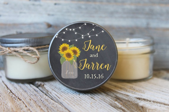 12 - 4 oz Bridal Shower Favor//Sunflower Mason Jar Favor//Soy Candle Favor//Personalized Bridal Shower Favor//Shower Favor//Chalkboard