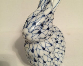 Vintage Bunny Rabbit Hand Painted Blue and White