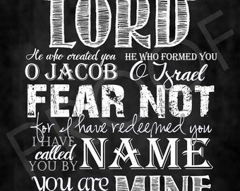 Scripture Art - Isaiah 43:1 ~ Chalkboard Style