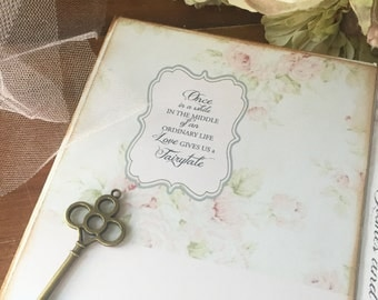 Pink Shabby chic style vintage white with roses wedding guest book