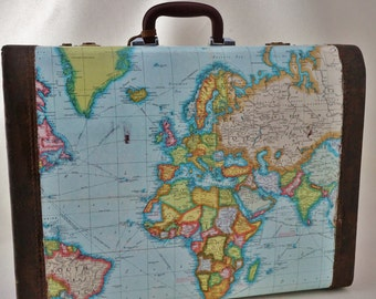 Vintage Suitcase Decopaged with Old Maps