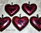 Black Cherry Resin Heart Pendant