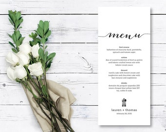 Printable Wedding Menu // Rehearsal Dinner Menu // Engagement Dinner Menu (Menu03)