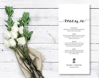 Printable Wedding Menu // Rehearsal Dinner Menu // Engagement Dinner Menu (Menu03)