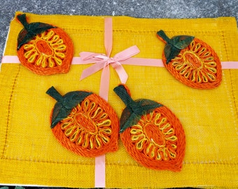 Set of four vintage raffia place mats with coordinating coasters in original packaging