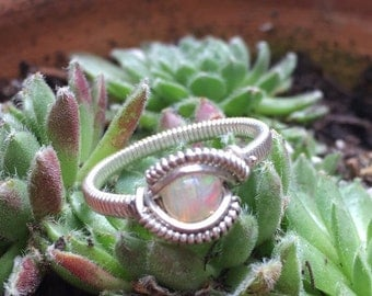 Sweet & Simple Opal Wire Wrap Sterling Silver Ring