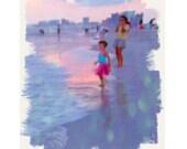 Whimsical Little Girl in TuTu Beach Colorful Coastal Seashore 8x10 Glicee Print Free Korpita